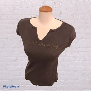 DKNY Brown T-Shirt with Embellishments